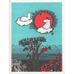 Moomin Greeting Card Letterpressed Clouds Putinki