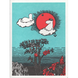 Moomin Greeting Card Letterpressed Clouds Putinki