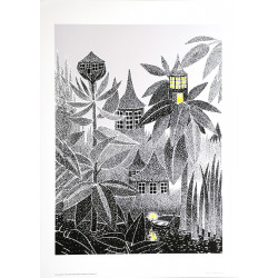 Moomin Poster Light in the Forest Cottage Tove Jansson 50 x 70 cm