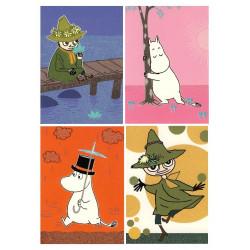 Moomin Glitter Postcard Set of 4 Karto Pappa Snufkin Troll