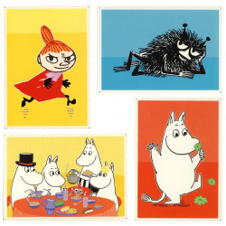 Moomin Postcard Set of 4 Karto, Family, Troll, Little My, Stinky