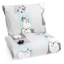 Moomin Duvet Cover Pillow Case Bed Set Square Aqua Grey 150 x 210 cm