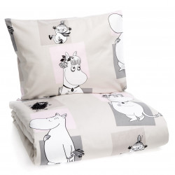 Moomin Duvet Cover Pillow Case Bed Set Square Beige Pink 150 x 210 cm