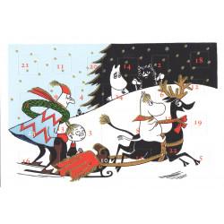 Moomin Advent Postcard Calendar Sleigh
