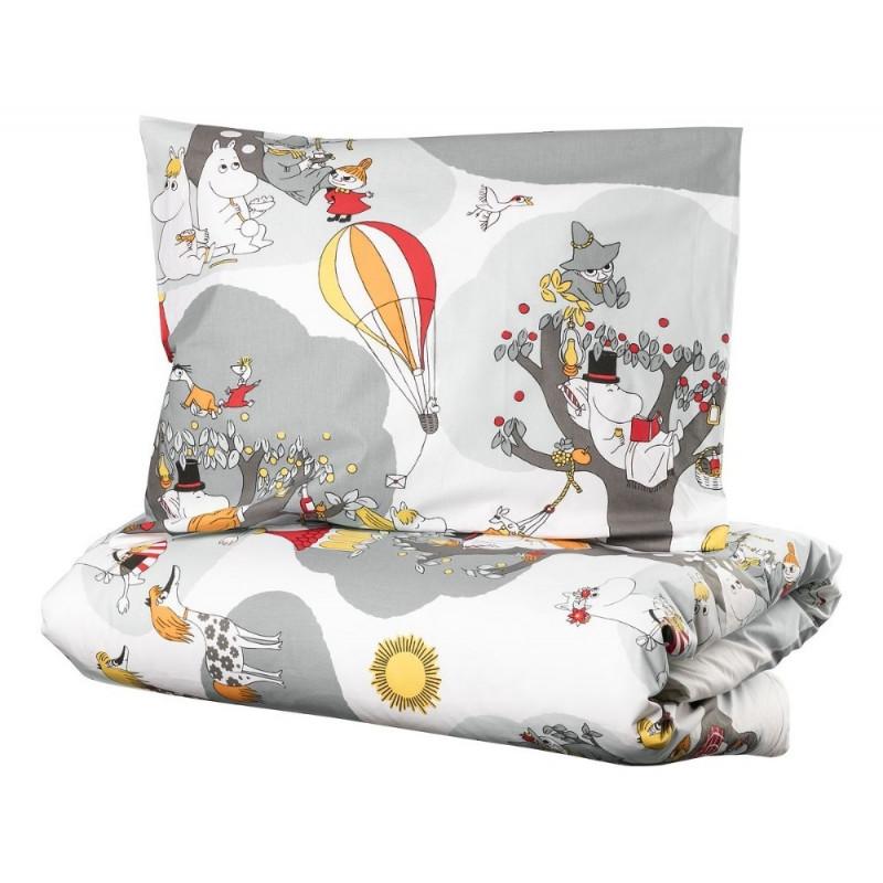 Moomin Duvet Cover Pillowcase Set Holiday Grey 150 x 210 cm