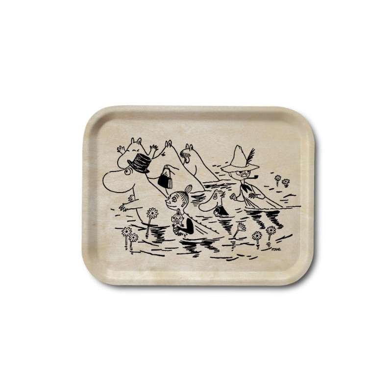 Moomin Birch Tray Wood Walking in Water 20 x 27 cm Optodesign