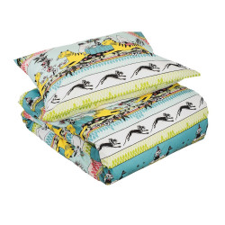 Moomin Duvet Cover Pillowcase Set Tropical Turquoise 150 x 210 cm