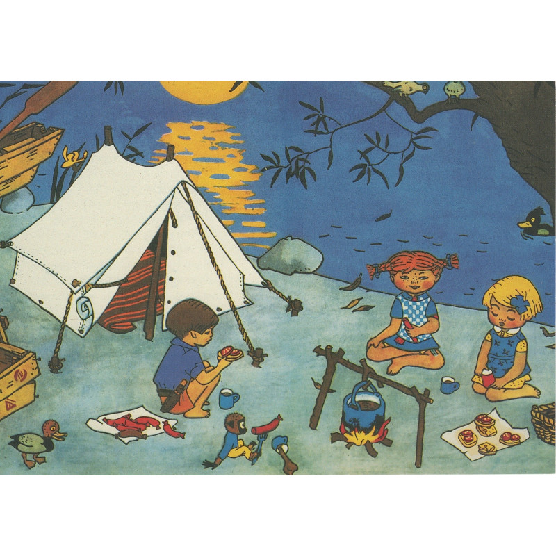 Pippi Longstocking Post Card Poster Camp Fire 21 x 30 cm