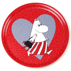 Moomin Birch Tray Heart Red 31 cm