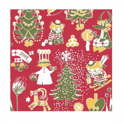 Moomin Paper Napkins Christmas Red 20 pcs 24 x 24 cm