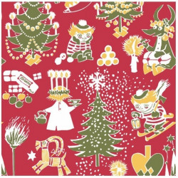 Moomin Paper Napkins Christmas Red 20 pcs 33 x 33 cm
