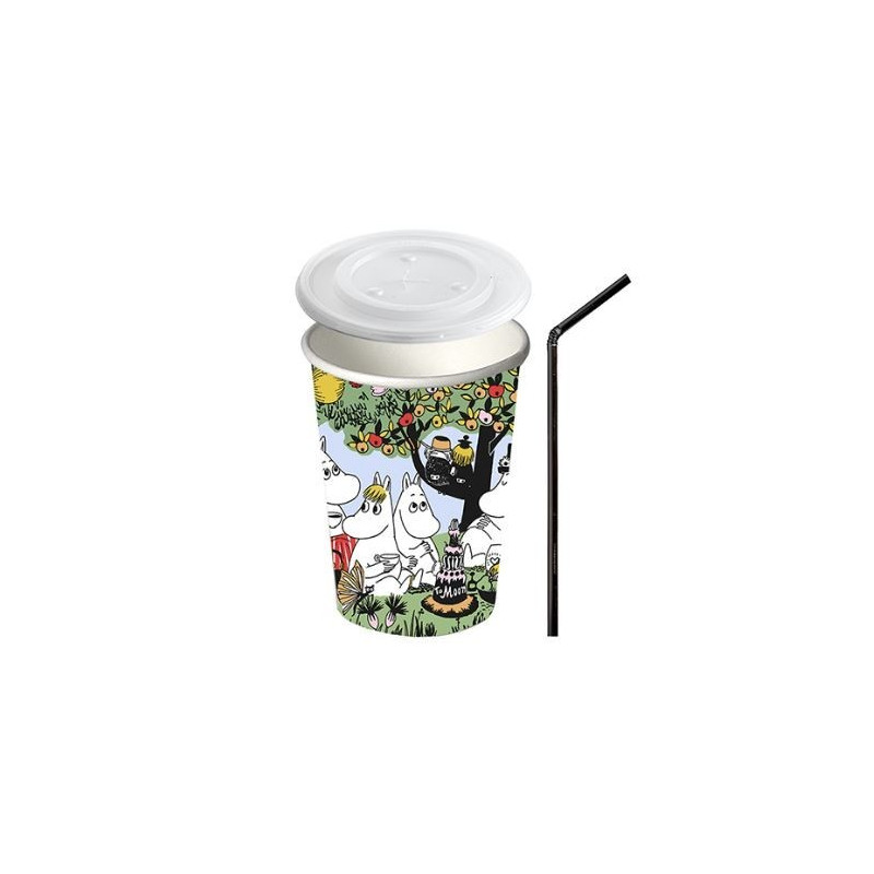 Moomin Party Paper Cup with Lid and Straw 0.3 L 10 pcs