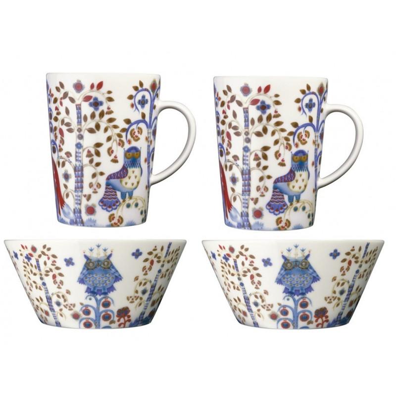 Taika White Set 2 x Mugs 0.4 L, 2 x Bowl 0.6 L Iittala