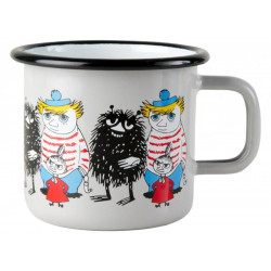 Moomin Enamel Mug Friends Stinky, Little My, Too-ticky 0.37 L Muurla