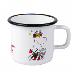 Moomin Enamel Mug 3,7 dl Moominmamma White Retro Muurla