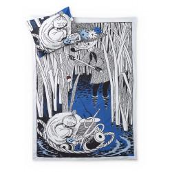 Moomin Duvet Cover Pillowcase Snufkin and Little My Dark Blue 150 x 210 cm Finlayson