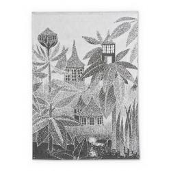 Moomin Kitchen Tea Towel Toffle House Black White 50 x 70 cm Finlayson