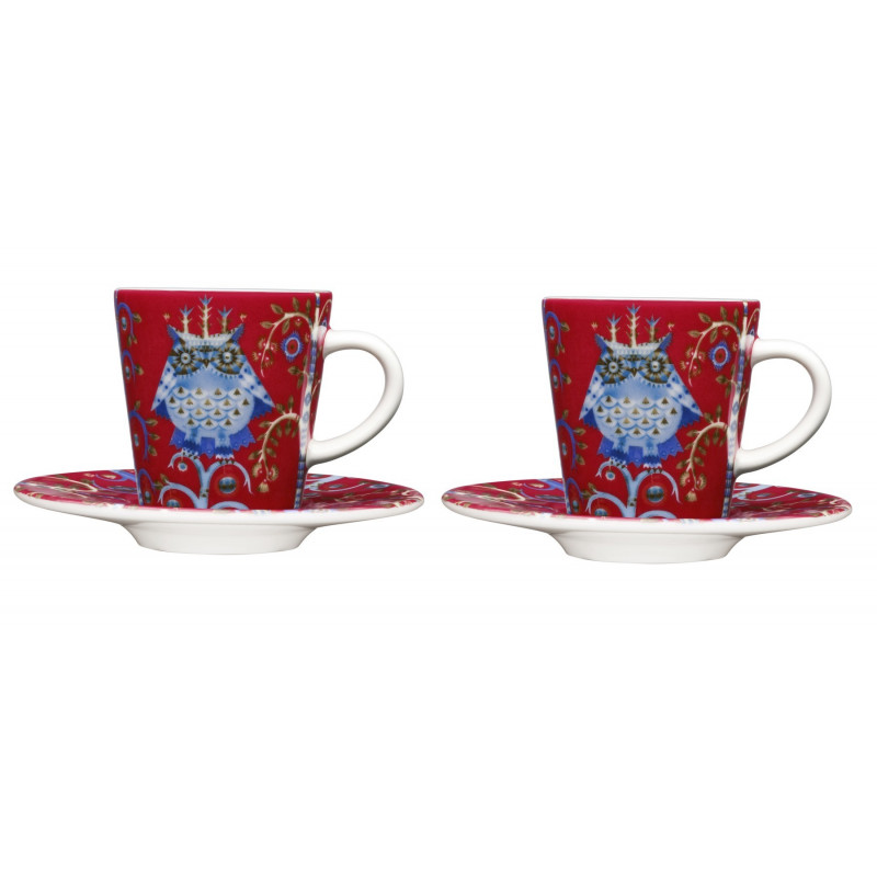 Taika Red Espresso Set of 2 Cups and 2 Saucers
