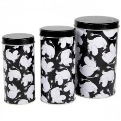 Moomin Cartwheel Set of 3 Round Tin Boxes Black Martinex