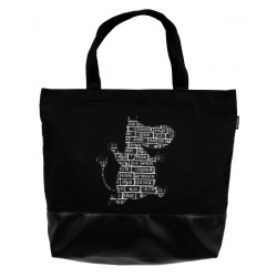 Moomin Nana Bag, All around the World, Black Canvas 40 x 38 x 10 cm