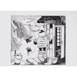 Moomin Poster Cleaning Tove Jansson 24 x 30 cm