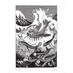 Moomin Poster Amphibious ship, Moomin Pappa exploits 24 x 30 cm Black and White