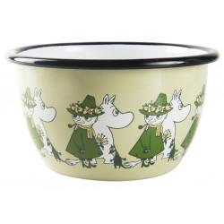 Moomin Enamel Bowl Friends Green 0.6 L Muurla