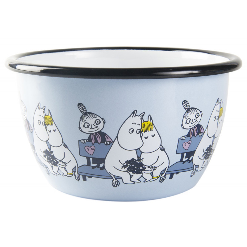 Moomin Enamel Bowl Friends Blue 0.6 L Muurla