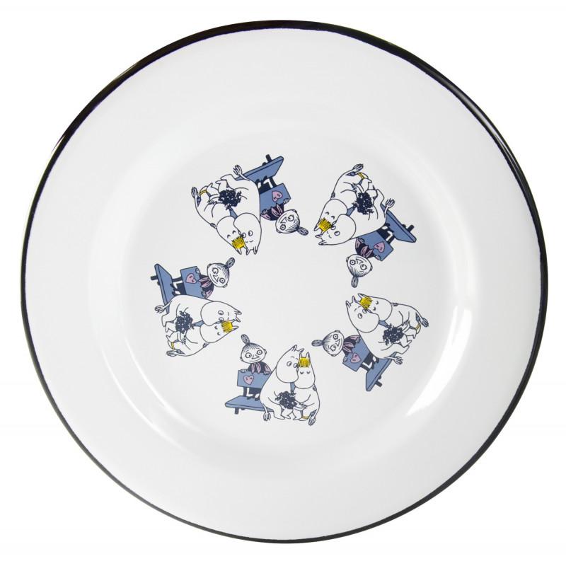Moomin Enamel Plate Friends Blue 24 cm Muurla
