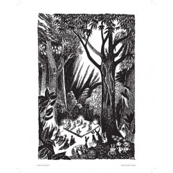 Moomin Poster Comet Dance 24 x 30 cm Black and White