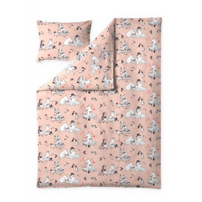 Moomin Duvet Cover Pillowcase Busy Moomin Coral 150 x 210 cm Filayson