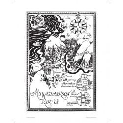 Moomin Poster Moomin Valley Map 24 x 30 cm Black and White