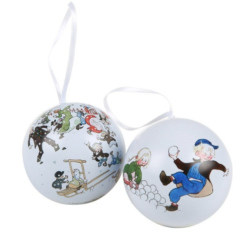 Emil Christmas Decorative Tin Baubles Set of 2 Martinex