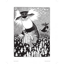 Moomin Poster Police Chief 24 x 30 cm Black and White