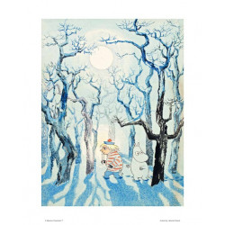 Moomin Poster Too Ticky and Moomin Troll in the Winter Forset 24 x 30 cm