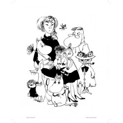 Moomin Poster Tove and her Moomin characters 24 x 30 cm Black and White