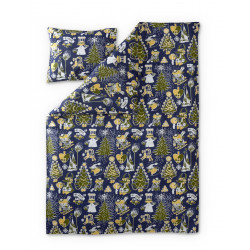 Moomin Duvet Cover Pillowcase Set Christmas Blue 120 x 160 cm