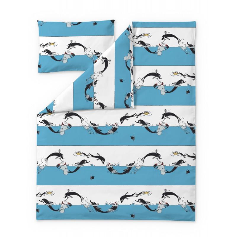 Moomin Duvet Cover Pillowcase Dolphin 120 x 160 cm 40 x 60 cmFinlayson