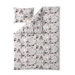 Moomin Duvet Cover Pillowcase Pink 150 x 210 cm Finlayson