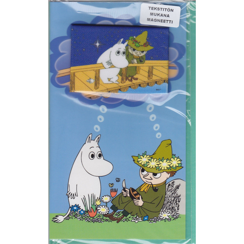 Moomin Greeting Card with Envelope and Magnet Moomintroll Snufkin