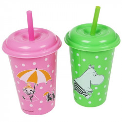 Moomin Two Plastic Cups with Lid and Straw
