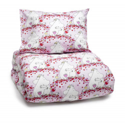 Moomin Duvet Cover Pillow Case Love Pink 150 x 210 cm/ 55 x 65 cm