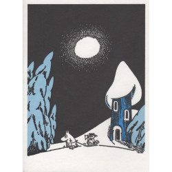 Moomin Greeting Card Letterpressed Sledging Putinki