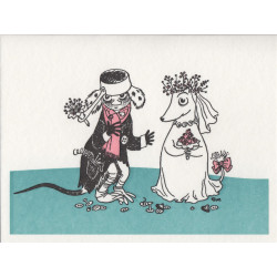 Moomin Greeting Card Letterpressed Muddler Fuzzy Wedding Putinki