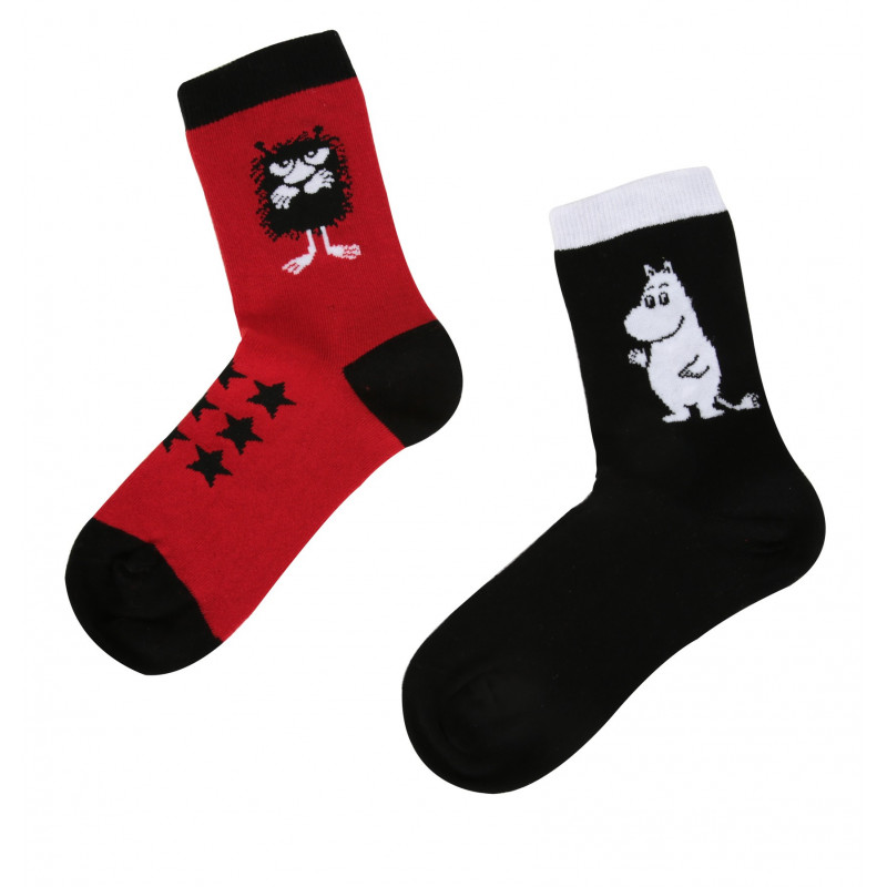 Moomintroll Stinky Black Red Mix and Match 2 pairs Socks 31-34