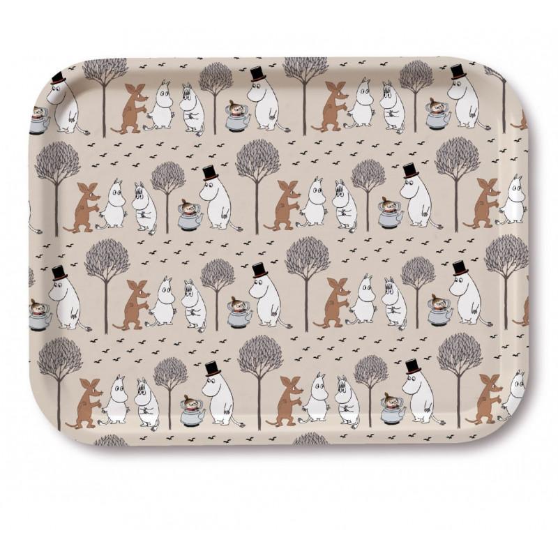 Moomin Birch Tray 27 x 20 cm Moomin Pattern Beige