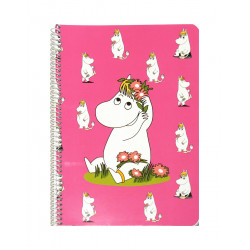 Moomin Spiral Notebook Snorkmaiden Pink A5 80 Squared Pages 7x7 mm