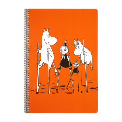 Moomin Spiral Notebook Orange A4 80 Squared Pages 7x7 mm