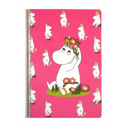 Moomin Spiral Notebook Snorkmaiden Pink A4 80 Squared Pages 7x7 mm