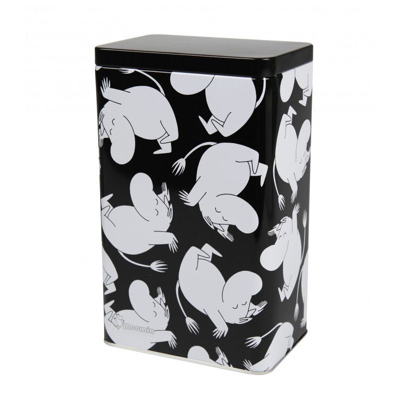 Moomin Tin Box Moomin Troll Cartwheel Black and White